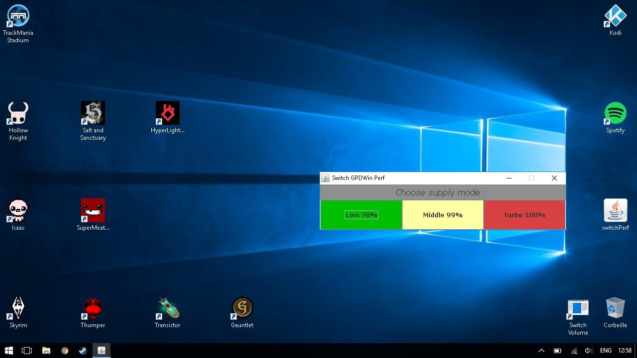 Appli pour switcher rapidement de mode d'alimentation SwitchPerf